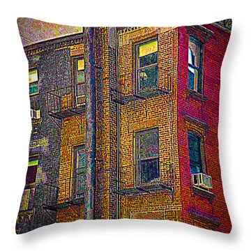 Pointillism In Steel And Brick Throw Pillow by Miriam Danar