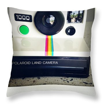 Polaroid Camera.  Throw Pillow by Les Cunliffe