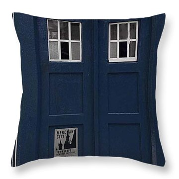 Police Phone Box Throw Pillow by Philip Ralley