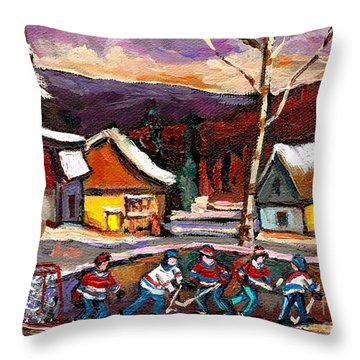 Pond Hockey Birch Tree And Mountain Throw Pillow by Carole Spandau