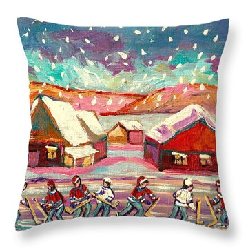 Pond Hockey Game 3 Throw Pillow by Carole Spandau
