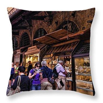 Ponte Vecchio Merchants - Florence Throw Pillow by Jon Berghoff
