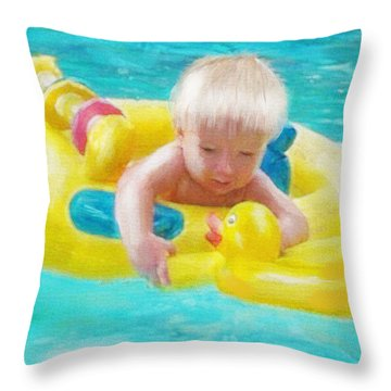 Pool Baby Throw Pillow by Jane Schnetlage