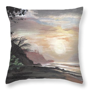 Pools Beach Sunset Throw Pillow by Sarah Lynch