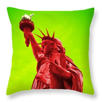 Pop Art Liberty Throw Pillow by Mike McGlothlen