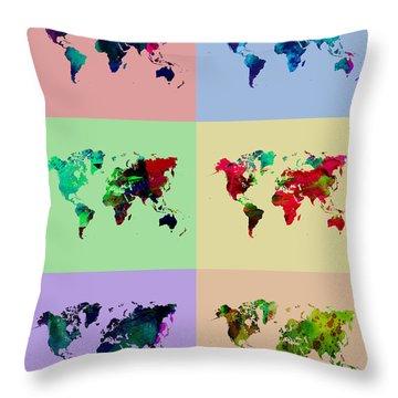 Pop Art World Map Throw Pillow by Naxart Studio