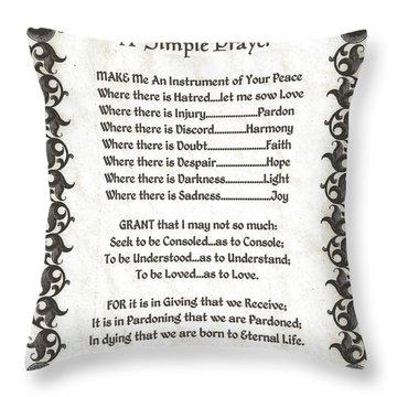 Pope Francis St. Francis Simple Prayer Fleury Of Faith Throw Pillow by Desiderata Gallery