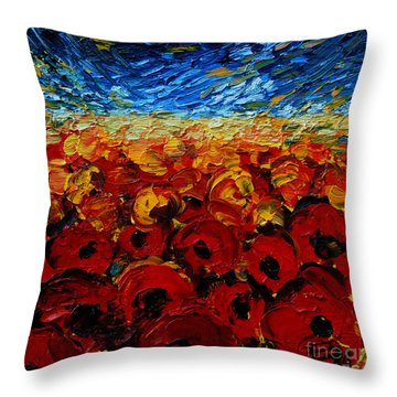 Poppies 2 Throw Pillow by Mona Edulesco