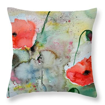 Poppies - Flower Painting Throw Pillow by Ismeta Gruenwald