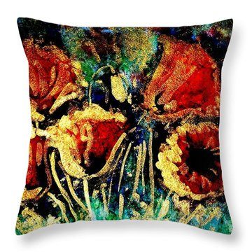Poppies In Gold Throw Pillow by Zaira Dzhaubaeva