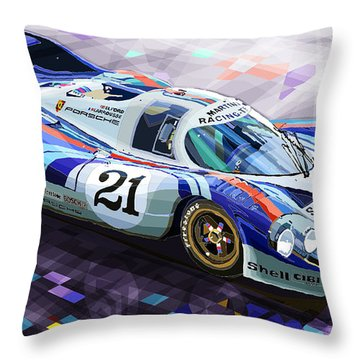 Porsche 917 Lh Larrousse Elford 24 Le Mans 1971 Throw Pillow by Yuriy  Shevchuk