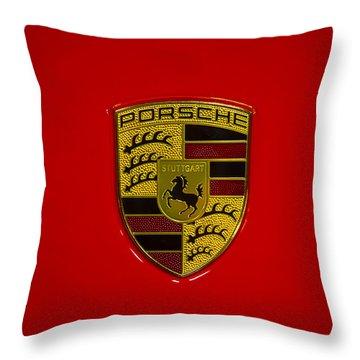 Porsche Emblem Red Hood Throw Pillow by Garry Gay