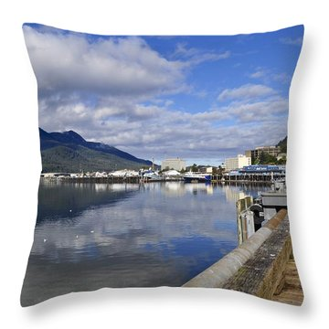 Port Of Juneau Throw Pillow by Cathy Mahnke