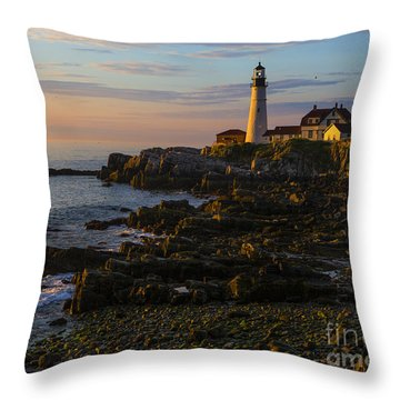 Portland Head Lighthouse At Dawn Throw Pillow by Diane Diederich