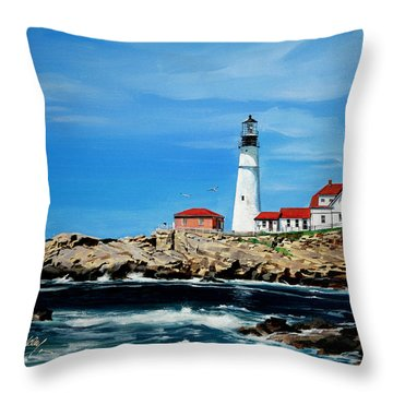 Portland Head Lighthouse Throw Pillow by Bill Dunkley
