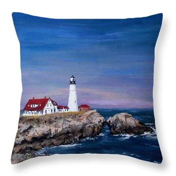 Portland Head Lighthouse Throw Pillow by Jack Skinner