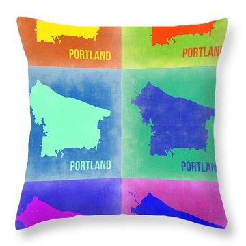Portland Pop Art Map 3 Throw Pillow by Naxart Studio
