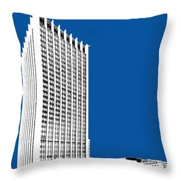 Portland Skyline Wells Fargo Building - Royal Blue Throw Pillow by DB Artist