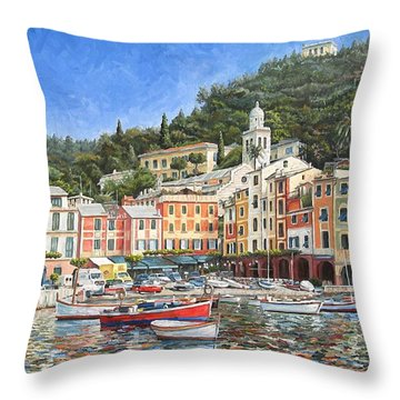 Portofino Italy Throw Pillow by Mike Rabe