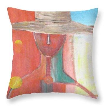 Portrait Avec Le Chapeau Throw Pillow by Chaline Ouellet