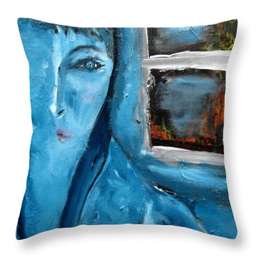 Portrait Bleu Avec Le Fenetre Throw Pillow by Chaline Ouellet