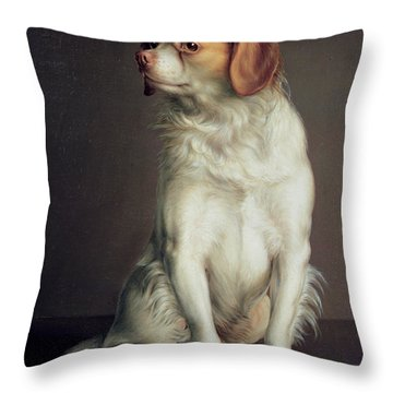 Portrait Of A King Charles Spaniel Throw Pillow by Louis Leopold Boilly