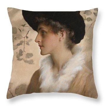 Portrait Of A Lady 1888 Throw Pillow by George Henry Boughton