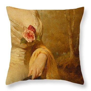 Portrait Of A Lady In A White Dress Throw Pillow by George Elgar Hicks