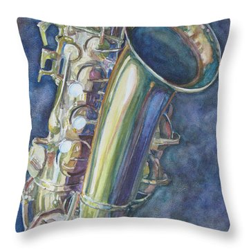 Portrait Of A Sax Throw Pillow by Jenny Armitage
