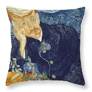 Portrait Of Dr Gachet Throw Pillow by Vincent Van Gogh