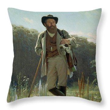 Portrait Of Ivan Ivanovich Shishkin Throw Pillow by Ivan Nikolaevich Kramskoy