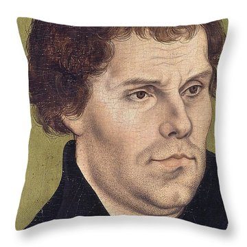 Portrait Of Martin Luther Aged 43 Throw Pillow by Lucas Cranach