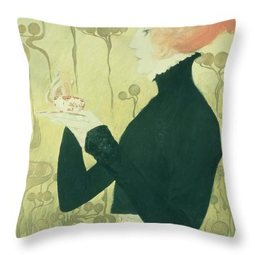 Portrait Of Sarah Bernhardt Throw Pillow by Manuel Orazi