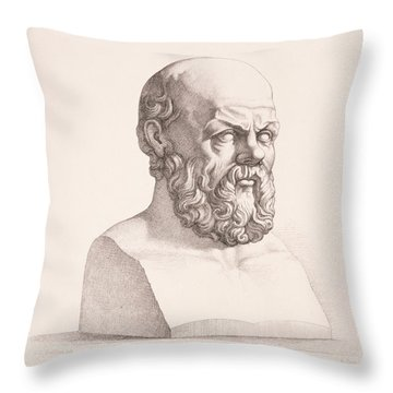 Portrait Of Socrates Throw Pillow by CC Perkins