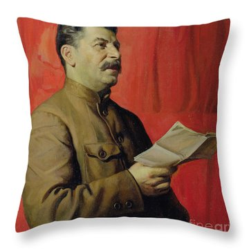 Portrait Of Stalin Throw Pillow by Isaak Israilevich Brodsky