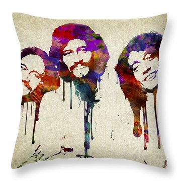 Portrait Of The Bee Gees Throw Pillow by Aged Pixel