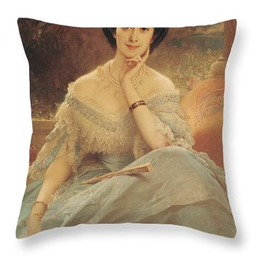 Portrait Of The Countess Of Hallez-claparede Throw Pillow by Edouard Louis Dubufe