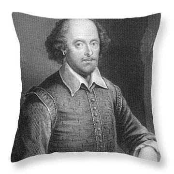 Portrait Of William Shakespeare Throw Pillow by English School