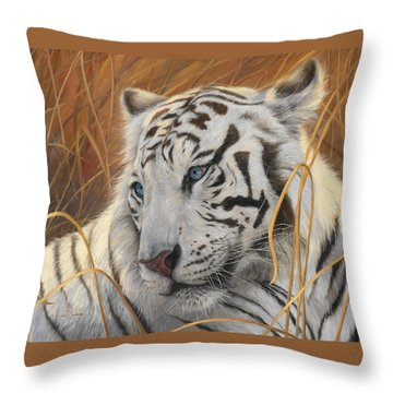 Portrait White Tiger 1 Throw Pillow by Lucie Bilodeau