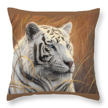 Portrait White Tiger 2 Throw Pillow by Lucie Bilodeau