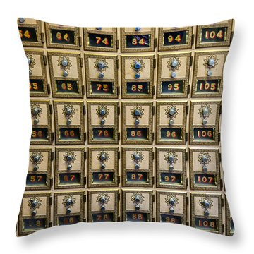 Post Office Combination Lock Boxes Throw Pillow by Sue Smith