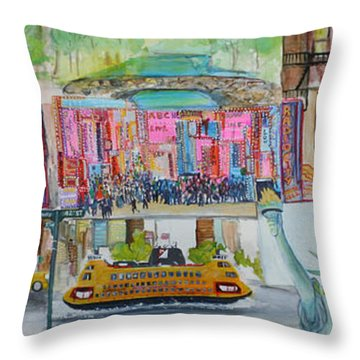 Postcards From New York City Throw Pillow by Jack Diamond