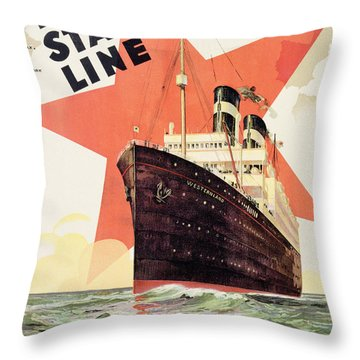 Poster Advertising The Red Star Line Throw Pillow by Belgian School