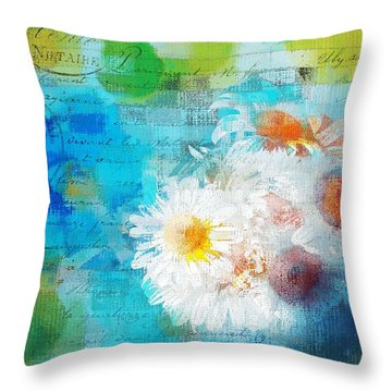 Pot Of Daisies 02 - J3327100-bl1t22a Throw Pillow by Variance Collections
