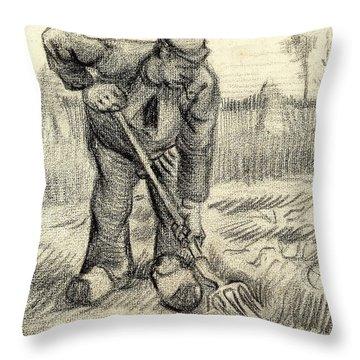 Potato Gatherer Throw Pillow by Vincent Van Gogh