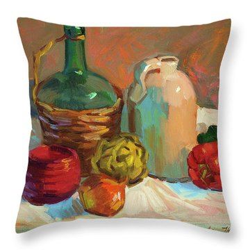 Pottery And Vegetables Throw Pillow by Diane McClary