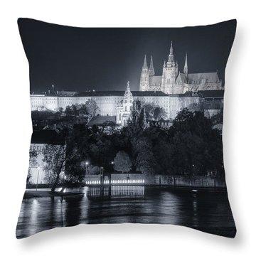 Prague Castle At Night Throw Pillow by Joan Carroll