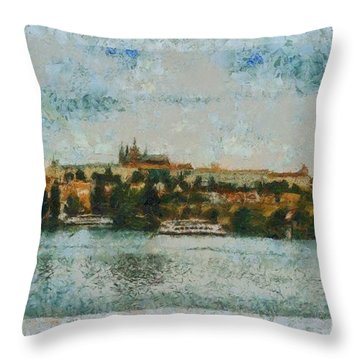 Prague Castle Over The River Throw Pillow by Dana Hermanova