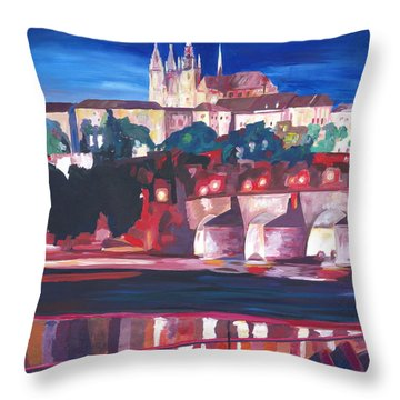 Prague - Hradschin With Charles Bridge Throw Pillow by M Bleichner