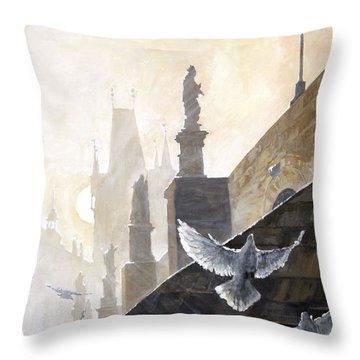 Prague Morning On The Charles Bridge  Throw Pillow by Yuriy Shevchuk